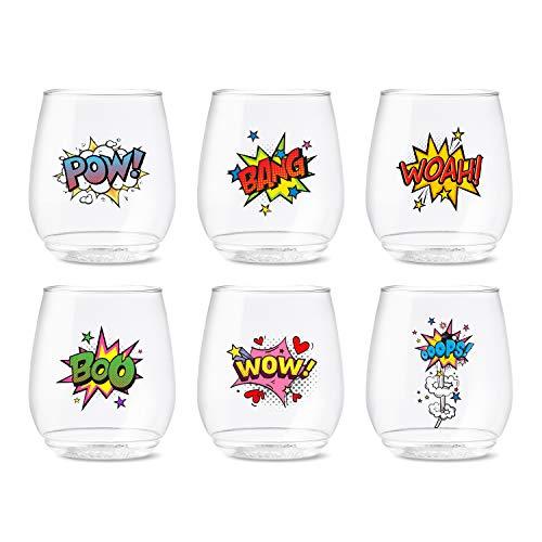 TOSSWARE POP 14oz Vino Pop Art Series, SET OF 6, Recyclable, Unbreakable & Crystal Clear Plastic Printed Glasses