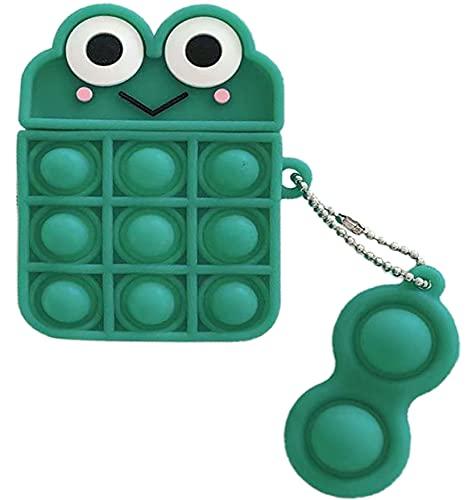 HengJun für Airpods 2 und 1 Hülle, Cartoon Silikon Airpods Hülle Push Pop it Sensorisches Zappeln Spielzeug Stressabbau Schutzhülle mit Schlüsselanhänger für Airpods 1 und 2 Ladehülle - Frosch Grün