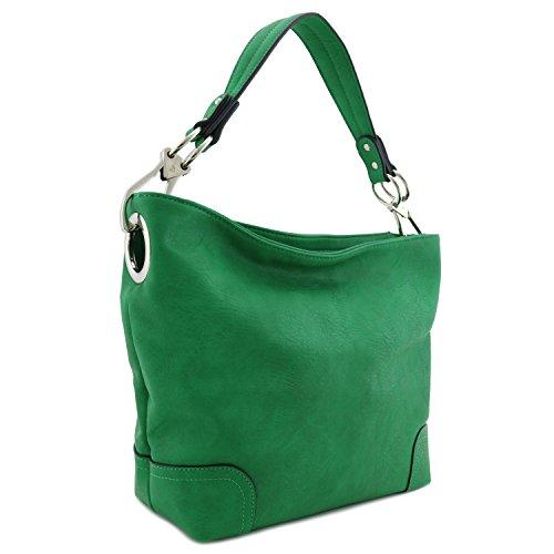 Hobo Shoulder Bag with Big Snap Hook Hardware (Kelly Green)