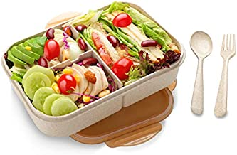 Bento Lunch Box for Kids & Adults, SIPU Leakproof and Shockproof Lunch Containers with Extra 2 silicone Seals, Microwave/Dishwasher Safe, BPA-Free and Food-Safe, Made from Wheat Fiber (Brown)