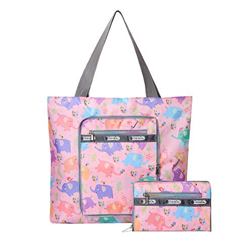 Womens Foldable Nylon Large Lightweight Tote Bag Shoulder Bag Handbag for Gym Hiking Picnic Travel Beach Waterproof Tote Bags (pink elephant)