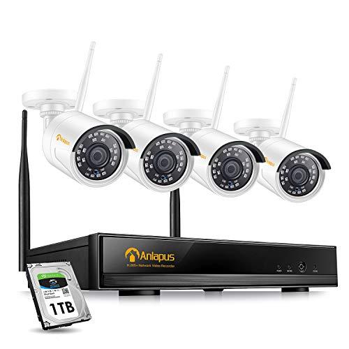 Anlapus 1080P Kit de Cámaras de Seguridad WiFi 8CH Full HD Grabador NVR con 4 Cámara de Vigilancia IP Exterior, 1TB Disco Duro, Visión Nocturna, Detección de Movimiento