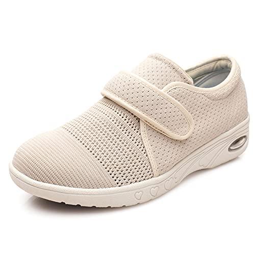 Wiosenne i jesienne damskie buty z cukrzycą poszerzone buty, regulowane zapięcie wygodne buty domowe, dla wsparcia starszych opuchniętych stóp (Color : Beige, Size : 38 EU)