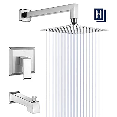 """HOMELODY Shower Trim Kit Brushed Nickel(Valve Included) Tub and Shower Faucet Set Stainless Steel Shower System with 8"""" Touch-Clean Rainfall Shower Head, Bathtub Faucet Set"""
