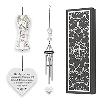Obsi Memorial Wind Chimes with Celtic Angel & Heart - Goodbyes are Not Forever - Sympathy Gifts