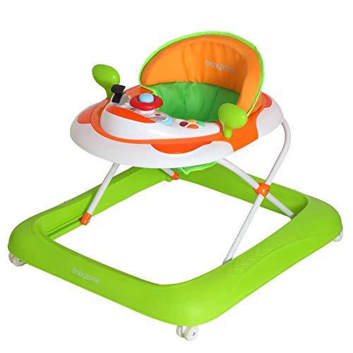 Girello a norma START con piatto giochi luci e suoni, pratico leggero e colorato - regolabile in altezza, adatto dai 6 mesi circa ai 12 kg (arancione e verde)