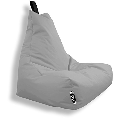 Patchhome Lounge Sessel XL Gamer Sessel Sitzsack Sessel Sitzkissen In & Outdoor geeignet fertig befüllt | XL - Grau - in 2 Größen und 25 Farben