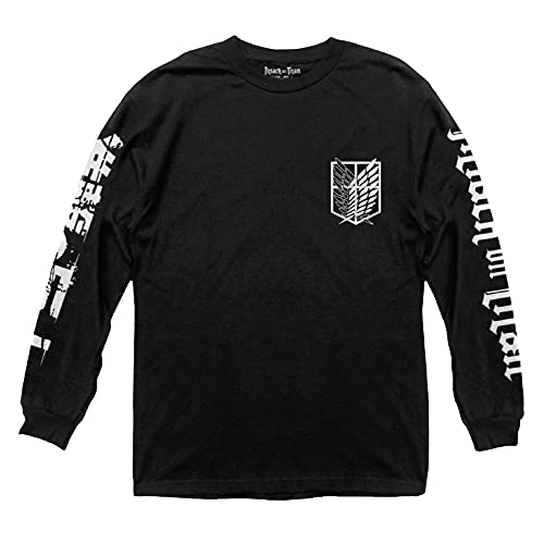 Ripple Junction Attack on Titan Scout Shield Long Sleeve Crew Neck Shirt Medium Black