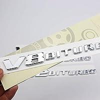 1ペア新しいメルセデス・ベンツV8 V12フェンダー側の標準的な変位の標準V8V12BITURBOAMGサイド標準フェンダー車のステッカーの3D車のステッカーバッジデカール