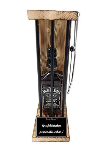 * Personalisierbar Die Eiserne Reserve ® Black Edition mit Jack Daniels 0,70L incl. Bügelsäge zum zersägen der Stäbe - Die lustige Geschenkidee.