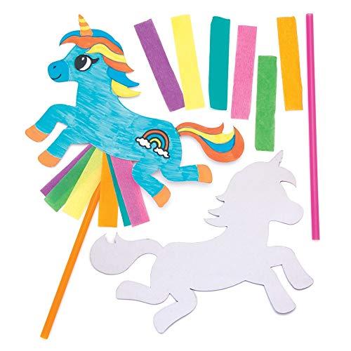 Baker Ross Einhorn-Spielzeug-Zauberstäbe, 6 Stück, AW627, Tierstäbe für Kinder zum Basteln und Dekorieren