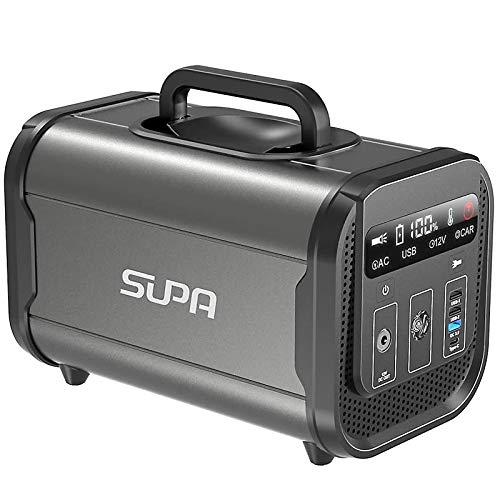 SUPA ポータブル電源 蓄電池 120000mAh/384Wh 大容量 非常用電源 家庭アウトドア両用電源 純正弦波 リン酸鉄リチウム電池 2000回充放電サイクル AC(300W 瞬間最大600W)/Type-C(PD60W)/DC/USB 急速充電Q