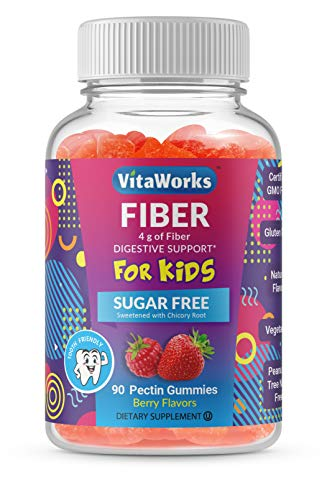 VitaWorks Sugar Free Prebiotic Fiber for Kids – 4g – Great Tasting Berry Flavored Gummy – Gluten Free, All Natural, Vegetarian, GMO Free Chewable – 90 Gummies – 45 Doses