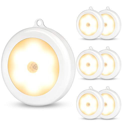 SALKING Schrankleuchten LED mit Bewegungsmelder, Auto ON/Off Nachtlicht, Aufkleben Magnet Schrank Lichter, LED Sensor Licht, Unterbauleuchten, Treppen Licht, batteriebetrieben und 3M Klebend 6er