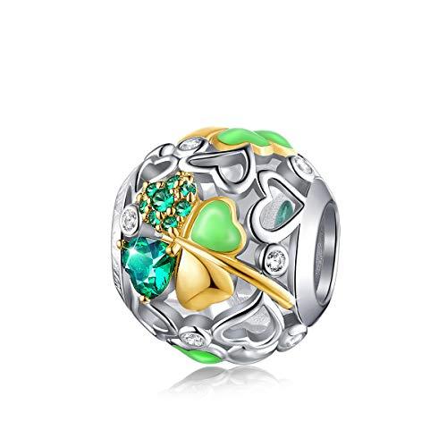 FOREVER QUEEN Glücklich Klee Charm Bead 5A Zirkonia 925 Sterling Silber Glück Gehabt Charms Anhänger für Armbänder und Halskette für Frauen Mädchen mit Geschenkbox
