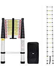 Todeco - Escalera Telescópica, Escalera Plegable - Carga máxima: 150 kg - Estándar/Certificación: EN131 - 4,1 Metro(s), Bolsa de transporte GRATIS, EN 131