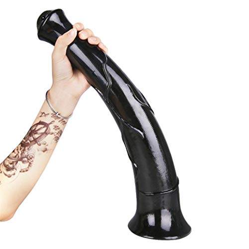 GAOFENLIAN Realistic Soft Long Dǐdlo Horse 17.32 inch Hands Huge Massage with Strong Suction Cup for Women Ergonomic Design (Color : Black)
