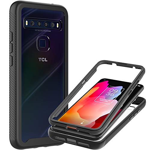 CoverON Full Body Cover Designed for TCL 10L / TCL 10L Lite Case, Clear Heavy Duty Rugged Anti-Slip Guard - Black