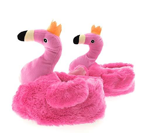 MC Trend Pluche Pantoffels Flamingo Lama Hai dames meisjes kinderen volwassenen 1 maat groter bestellen