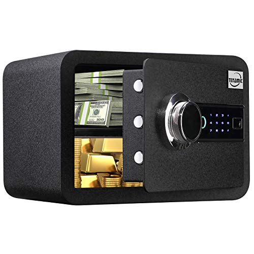 Tenamic Biometric Fingerprint Safe Box 0.85 Cubic Feet Electronic Touch Screen Keypad Security Box with Induction Light and Leather, Solid Alloy Steel Office Hotel Home Cabinet Safe, Black