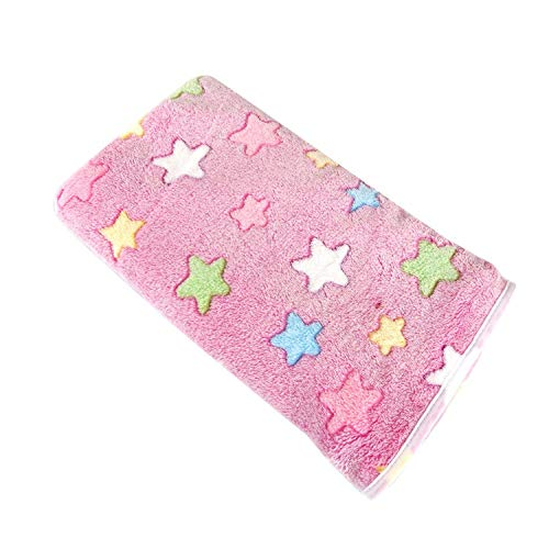 Dog Bed Soft Flannel Fleece Star Print Warm Pet Blanket Sleeping Bed Cover Mat for Small Medium Dog Cat 80102,Pink,60X80CM,United States