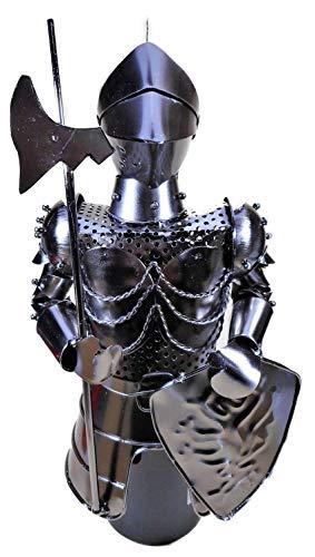 Trades Flaschenhalter Ritter mit Axt und Schild (ohne Flasche 30 x 18 x 12 cm) Bar Flaschenständer Halter Figur Deko F27