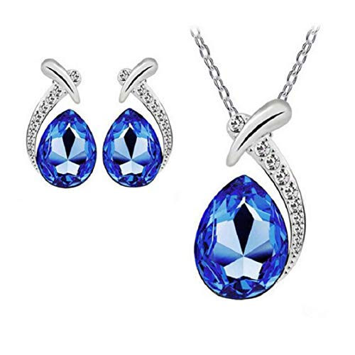 Harlorki Women's Shiny Crystal Rhinestone Silver Plated Pendent Chain Necklace Stud Earring Costume Fashion Jewelry Set (Royal Blue)