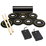 Ivation Portable Electronic Drum Pad - Built-in Speaker (DC Powered) - Digital Roll-Up Touch...
