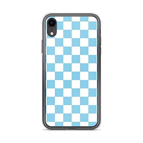 iPhone XR Pure Clear Case Cases Cover Sky Blue and White Checkerboard Pattern