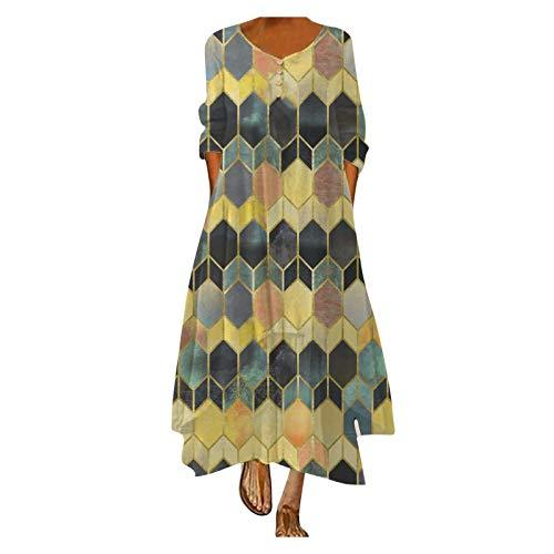 XUEBing Vestido largo casual suelto para mujer, con estampado de tallas grandes, manga larga, estilo vintage, bohemio, cuello o