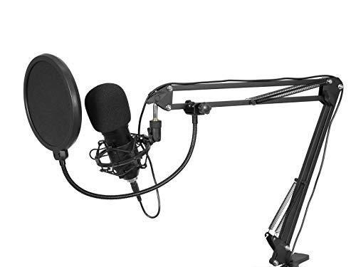 OMNITRONIC BMS-1C - Juego de micrófonos de condensador USB con micrófono condensador USB, soporte de mesa, filtro antipop y araña
