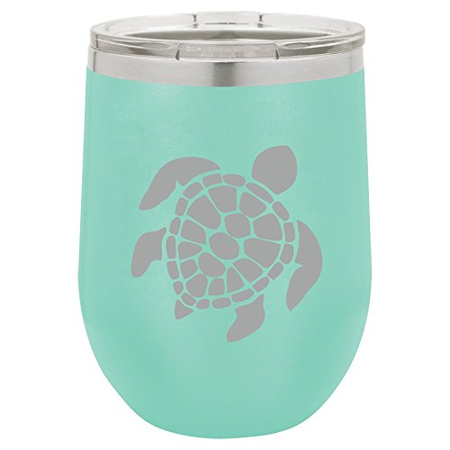 12 oz Double Wall Vacuum Insulated Stainless Steel Stemless Wine Tumbler Glass Coffee Travel Mug With Lid Sea Turtle (Teal)