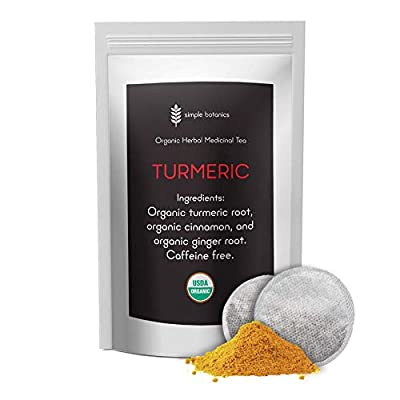 Simple Botanics Organic Turmeric Tea with Ginger | Non GMO, Caffeine Free, Pure Organic Turmeric Ginger Tea in All Natural Tea Bags | 30 Ginger Turmeric Tea Bags