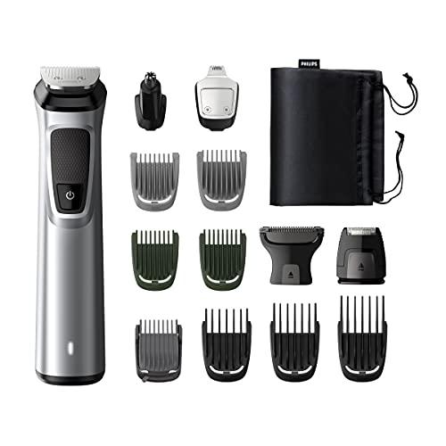 Philips MG7720 15 Recortadora 14 en 1 Maquina recortadora de barba y Cortapelos para hombre, óptima precisión, tecnología Dualcut, autonomía de 120 minutos, batería, Negro Plata