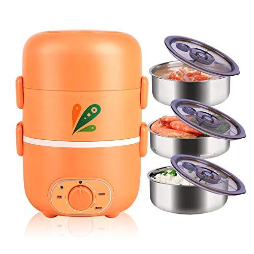 CYT elektrische lunchbox met drie lagen, timing-plug-in isolatie verwarming automatische, intelligente mini-rijstkoker 1 persoon 2