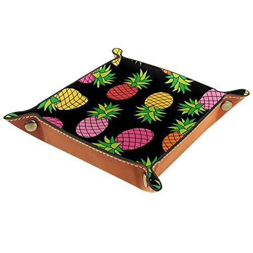 Bandeja de cuero para hombres y mujeres, organizador de escritorio personalizado para joyas, cosméticos, gafas, cartera, oficina, uso doméstico, frutas, piña colorida