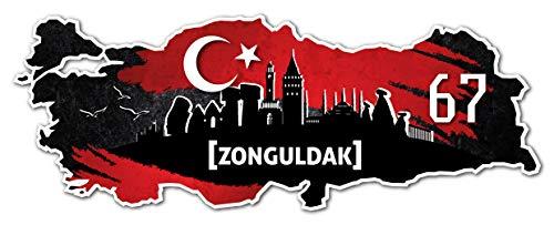 Aufkleber Sticker Türkei 67 Zonguldak Motiv Fahne für Auto Motorrad Laptop Fahrrad
