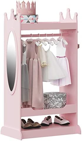 UTEX Kids Dress up Storage with Mirror Costume Closet for Kids Open Hanging Armoire Closet Pretend product image