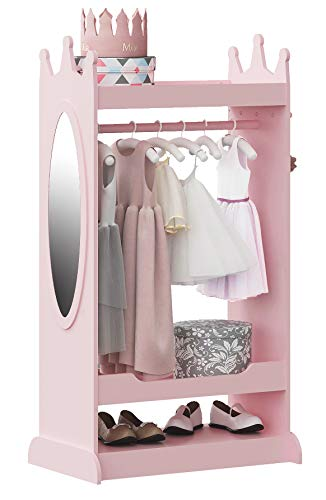 UTEX Kids Dress up Storage with Mirror,Costume Closet for Kids, Open Hanging Armoire Closet,Pretend Storage Closet for Kids,Costume Storage Dresser (Pink)