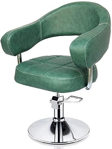 JYHQ Tabouret de bar rétro pour salon de coiffure, style élégant, levage hydraulique, cuir synthétique imperméable, fauteuil pivotant, vert (couleur : marron foncé)