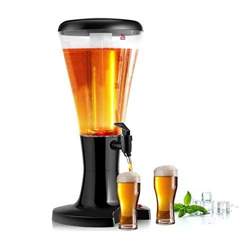 COSTWAY 3L Biersäule mit Eiskühlung, Biertower mit LED-Licht, Bierspender, Getränkespender mit Zapfhahn, Trinksäule, Getränkesäule, Bier Zapfsäule ideal für Party, Bar und Zuhause