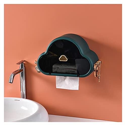 Soporte para caja de pañuelos PunchFree autoadhesivo impermeable toboga de papel tapete testamento multifunción Baño de almacenamiento Organizador de almacenamiento Titular de papel ( Color : Green )