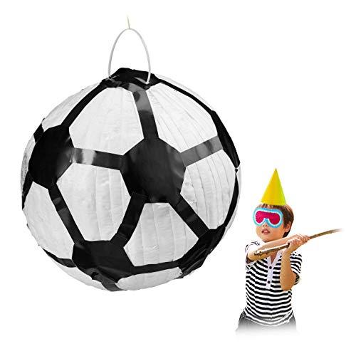 Relaxdays Pinata Fußball, zum Aufhängen, für Kinder, Mädchen & Jungs, Geburtstag, zum selbst Befüllen, Piñata, weiß