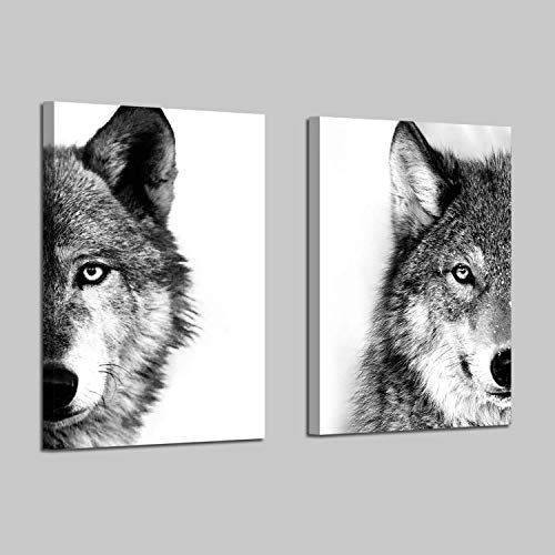 Wolf Canvas Wall Art Print: Wildlife Animal Artwork Print on Wrapped Canvas for Dining Room (12'W x 16'H x 2 Pcs,Multi-Sized)