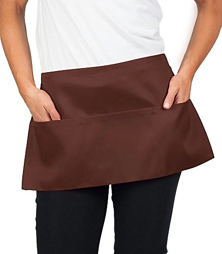 KNG 3 Pocket Waist Apron, 11 inch, Coffee, Pack of 6