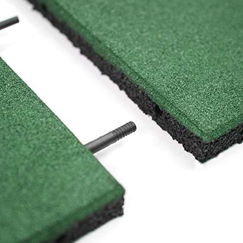 RevTime Easy DIY Interlocking Outdoor Gummi-Fliesen 50,8 x 50,8 x 2,5 cm dick für Spielplatz, Outdoor Gym Boden, Sport Deck, Hinterhof Spielbereich, Sicherheitsgummi Paver (4 Stück) grün