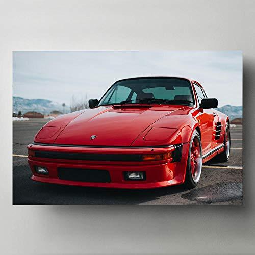MXmama Cuadro de Pared Moderno Arte Pintura en Lienzo Vehículos Porsches Supercar Rojo Carteles e Impresiones de Autos clásicos Decoración para Sala de Estar -50X70cm 20x28 Pulgadas sin Marco