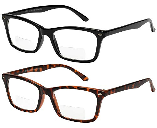 Bifocal Reading Glasses 2 Pack Fashion Comfort Quality Bifocal Readers for Men and Women +2.25