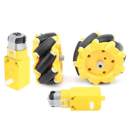 Rueda Mecanum, 80 mm / 3,1 pulgadas TT Robot de acoplamiento Ruedas Mecanum para motorreductor TT, Piezas de coche robot inteligente DIY, Juguetes educativos para niños, adolescentes, adultos