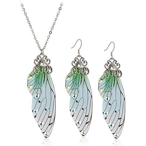 Pendientes colgantes con alas de mariposa, diseño de mariposa de gran monarca con forma de mariposa, juego de joyas de cristal y pendientes de cristal de moda de acrílico de...